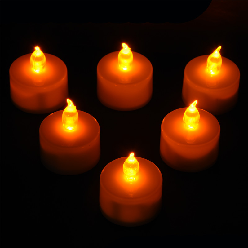 Home Decor LED Tealight Tea Candles Household Flicker Yellow Light Flameless Candles Party Wedding Home Decoration