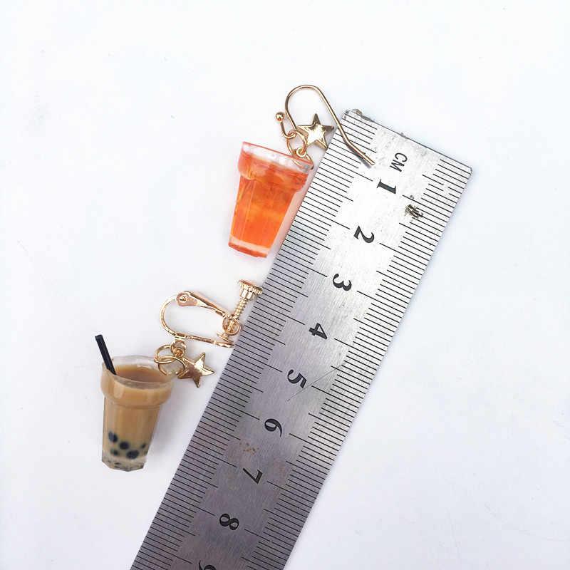 Смешной лимон лед черный чай жемчуг молоко чай серьги Тайвань Боба пузырь чай забавные Висячие серьги для женщин девочек детские ювелирные изделия