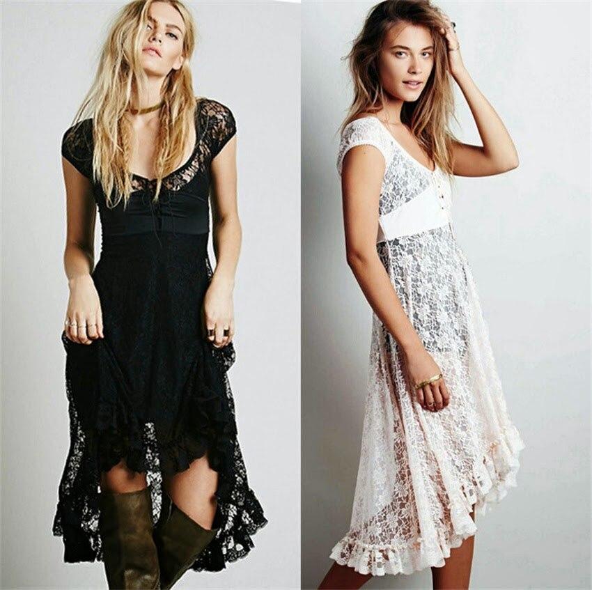 Nieuwe vrouwen Sexy zomer kanten jurk Strandjurk Vintage Vestidos Party Maxi borduurjurken Z8113