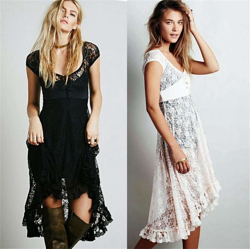 New Women Sexy Summer Lace Dress Beach Dress Vintage Vestidos Party Maxi Embroidery Dresses Z8113