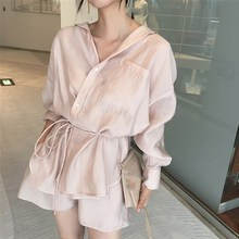 Summer Casual Women 2 Piece Set Ice Silk Shirts and Wide Leg Shorts Suit Loose Outfits Pink Office Lady