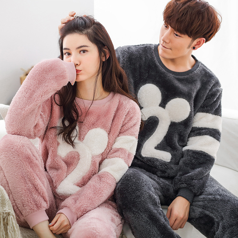 Letter Print Men's Pajamas Set Warm Flannel Sleepwear Women's Sleep Lounge Pajama Sets Homewear Nighties Couples