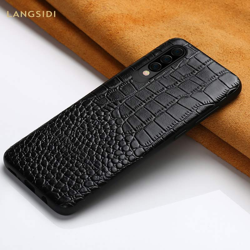 Genuine Leather Shockproof phone case for Samsung galaxy A50 A70 S10e luxury Full protective Back cover for A40 A30 A8 A7 2018 in Fitted Cases from Cellphones Telecommunications