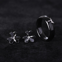 Ceramic Jewelry Sets Stud Earrings Rings Rhodium Plated Flower Brincos Pequenos Finger Aros Black Porcelain Parure