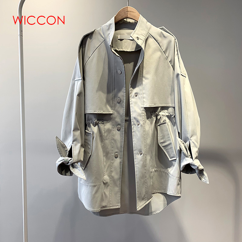 2019 New   Trench   Coat Women Autumn Single Breasted Loose Elastic Waist Korean Casual Long Coat Female Tops