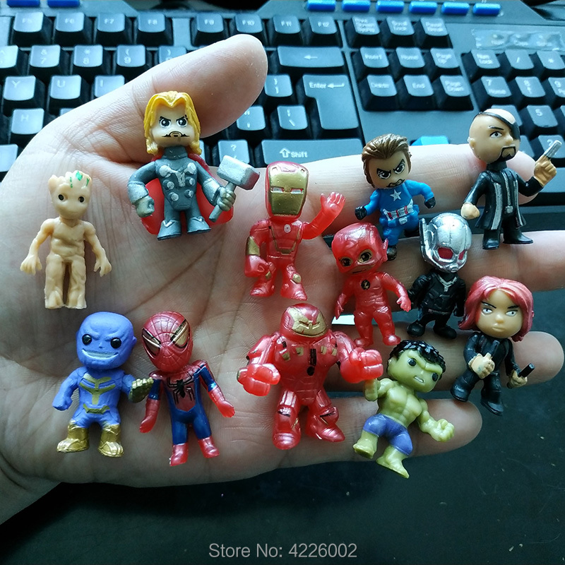 8 PC//insieme Avengers Infinity War THANOS THOR SPIDER-MAN IRON MAN PVC Figura Giocattolo