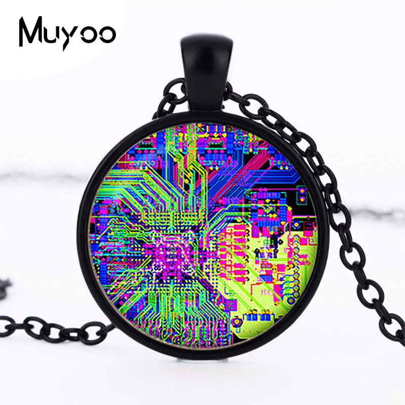 Printed circuit Board electronic pendant. Circuit Board Necklace. platedchristmas gift