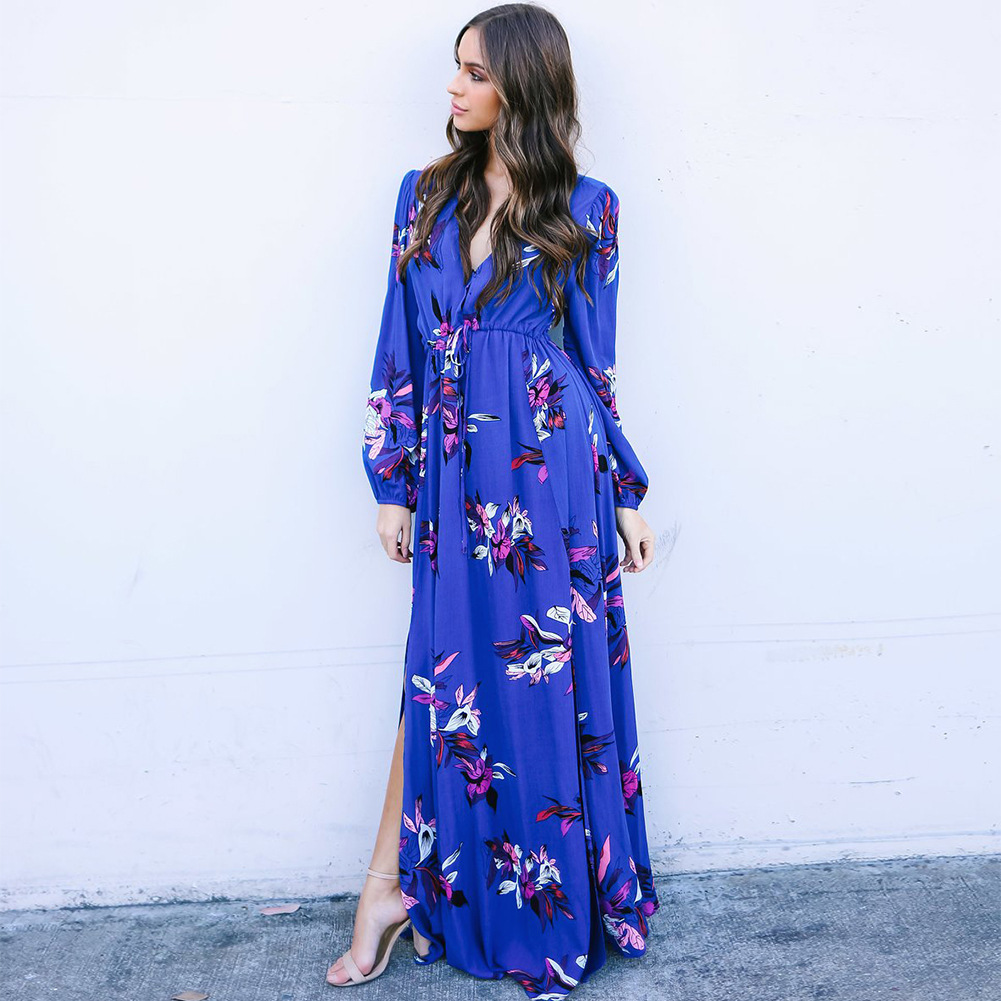 2018 Summer chiffon irregular dress flared sleeve print dress