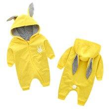 תינוק Rompers חמוד ארנב תינוק ילד בגדים עם סלעית יילוד בגדי כותנה סרבל סרבל תינוקת Romper הלבשה עליונה