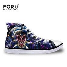 Moda Zapatos de Lona de Los Hombres Sapatos masculinos Hombres Zapatos High-Top, Divertido Harley Quinn y Joker Zapatos de Los Planos Zapatos de Dibujos Animados ocasional