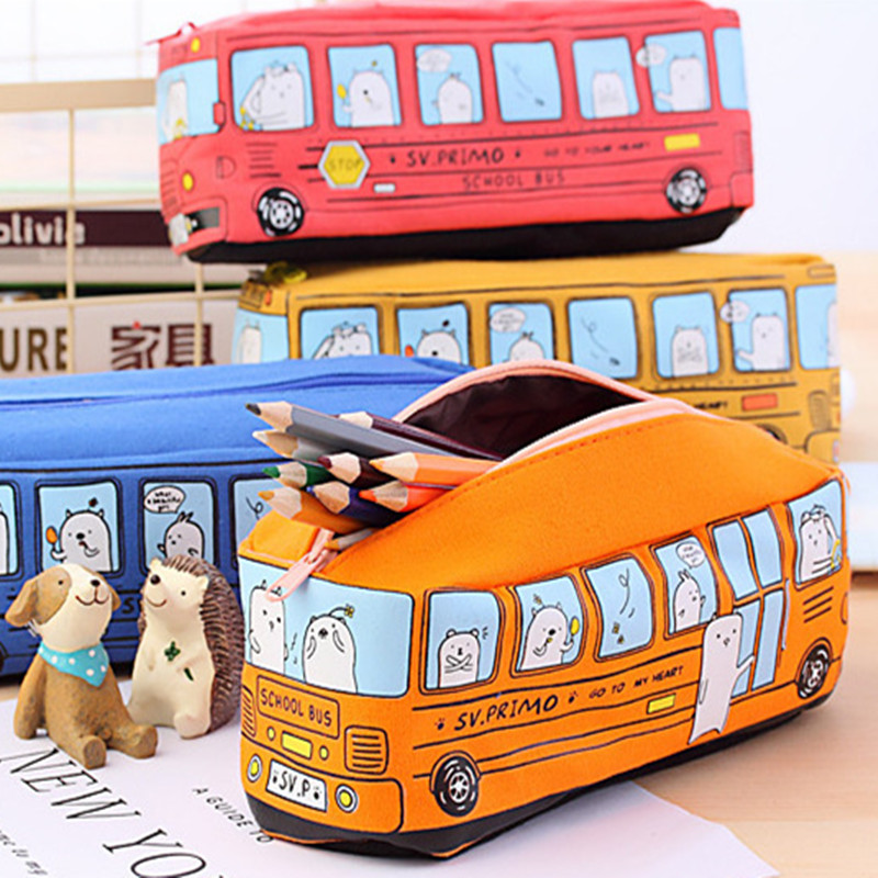 Zipper Large Storage School Bus Pencil Case Creative Pencil Bag Stationery Brush Pen Box For Study Office Supplies L Kids Gift