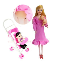 Toys Family 3 People Dolls Suits 1 Mom /2 Baby Son/1 Baby Carriage Real Pregnant Barbies Doll Gifts XD209(China)