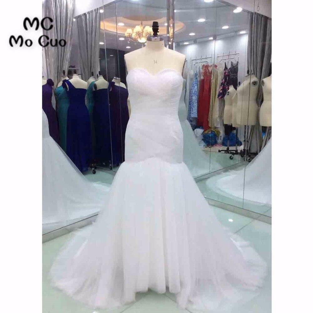 2018 Fashion Mermaid Wedding Dresses Pleat Lace Up Back Tulle Sweep Train Vestido De Noiva Wedding Dress Bridal Gown 100% Real