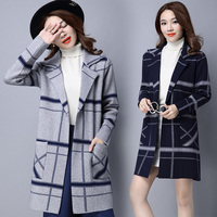 Women Loose Striped Long Cardigans Knitted Sweater Women Clothes Long Cardigan Pockets Outwear Basic Coats Jumper