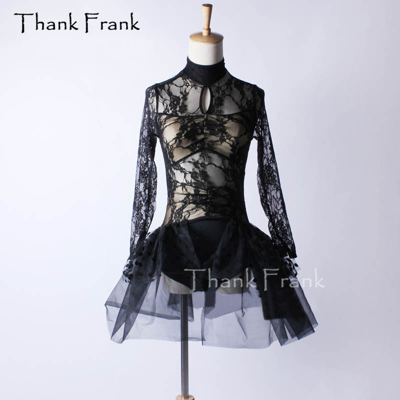 Sexy Lace Ballet Tutu Dress Girls Adult Long Sleeve Dance Costume Thank Frank C391