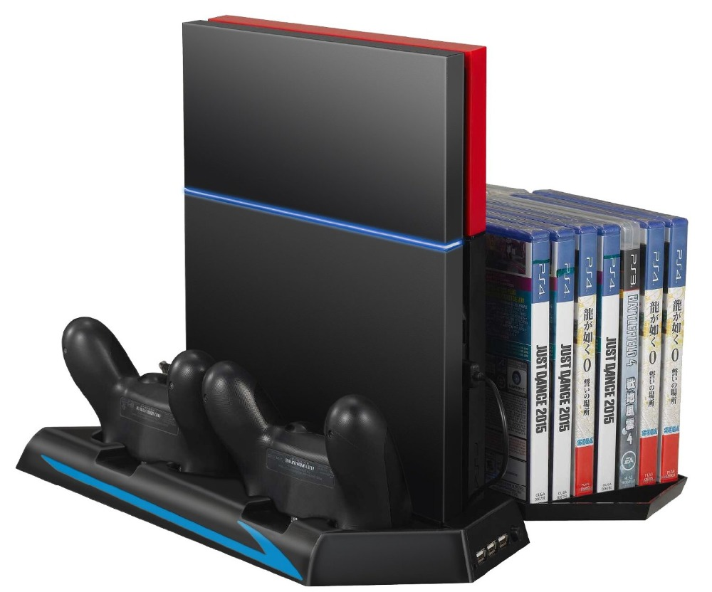 Usb Charging Hub >> Vertical Stand&Cooling Fan For Sony Ps4 Game Holder Dual Charging Station with USB HUB ...