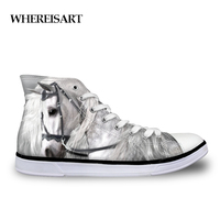 WHEREISART Crazy Horse Shoes Woman Women Sneakers High top Canvas Ladies Leisure Vulcanized Shoes High Top Women's Comfortable