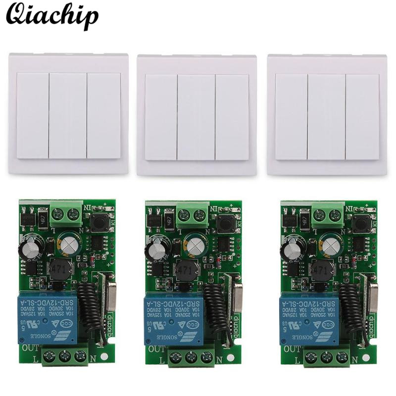 QIACHIP Wireless 433 Mhz Remote Control Switch AC 110V 220V 1CH RF Relay Receiver and 433Mhz 86 Wall Panel RF Transmitter Remote smart home 433mhz 1 channel wireless remote control switch relay receiver 433 mhz rf 3ch 86 wall panel remote transmitter