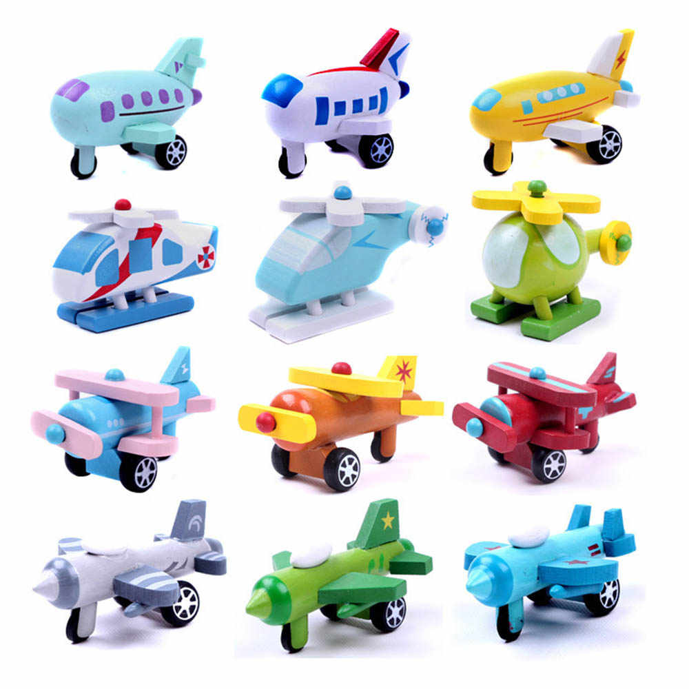 12pcs/Set  Mini Wooden Car Airplane Toys Multi-pattern Airplane Model for Baby Kids Educational Toys Birthday Gifts Toy
