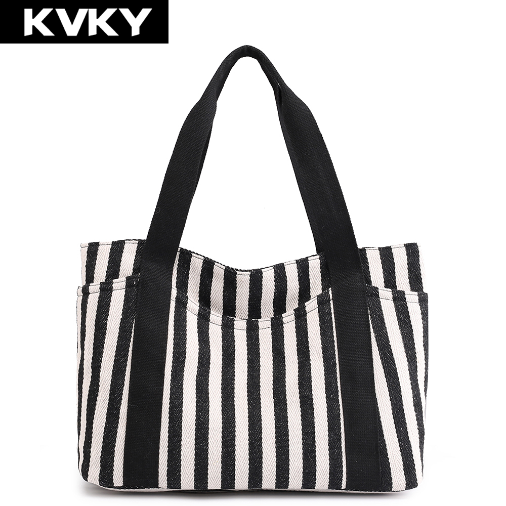 KVKY Brand 2018 New Women Canvas Handbags For Women Shoulder Bag Female Beach Casual Tote Bags Lady Shopping Bag Bolsas Feminina tote bag