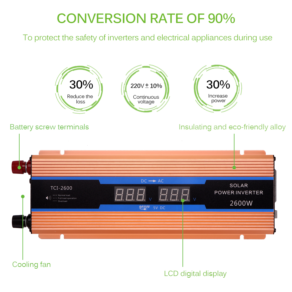 Image 2 - Car Inverter 2600 W DC 12 V To AC 220 V Power Inverter Charger 