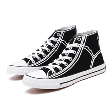 High Top Canvas Shoes Men Sneakers Lace-up Men's Vulcanize Shoes  Casual Shoes Classic Retro Style Black White High Quality Male