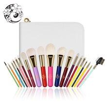 الطاقة العلامة التجارية المهنية 19 قطعة قوس قزح الملونة فرشاة للمكياج مجموعة فرش + حقيبة البروشات Maquillaje Pinceaux Maquillage