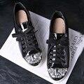 2016 Estilo de la Marca Famosa Mujeres Zapatos Casuales Dimaond Redondas de Metal Toe Lace Up Zapatos de Cuero de Moda Para Dama de Varios Colores Zapatos