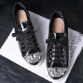 2016 Famous Brand Style Women Casual Shoes Dimaond Metal Round Toe Lace Up Fashion Leather Shoe For Lady Various Colors Zapatos