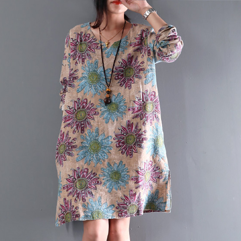 Maternity Clothes 2018 Summer Women Dress Vintage Floral Print Cotton Dresses Long Sleeve Casual Loose Vestidos Plus Size