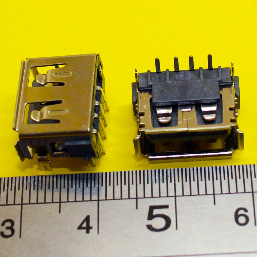 2X  Laptop 2.0 USB Connector/jack/sockect Commonly Used 90 Degree AF Type 4 DIP Foot USB JACK Female Length=10MM