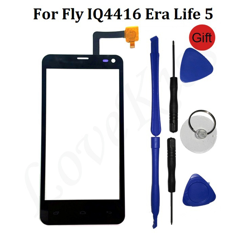 4.5 IQ4416 Front Touch Panel For Fly IQ4416 Era Life 5 IQ 4416 Touch Screen Sensor Digitizer LCD Display Glass Replacement Tool