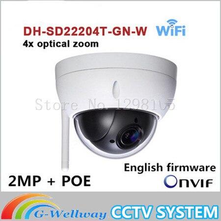 DH English version DH-SD22204T-GN-W WiFI IP 2MP HD Network Mini PTZ Dome 4x optical zoom POE wireless Camera SD22204T-GN-W original dahua 1080p mini ptz ip camera dh sd22204t gn 4x zoom hd network speed dome camera onvif sd22204t gn with power supply