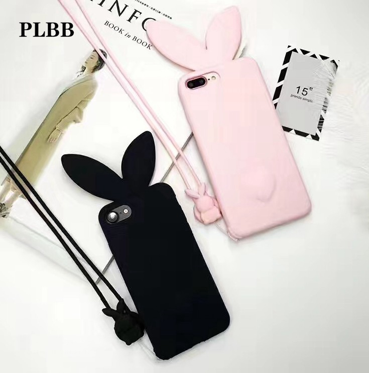 PLBB 3D Cute <font><b>Bunny</b></font> Rabbit Ears Tail Back with hang rope <font><b>phone</b></font> Cover For iPhone 6 case Capa fundas case for iphone 6s 4.7&#8243;