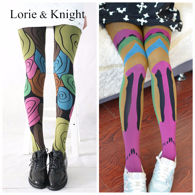 Japanese Harajuku Colored Patterned Summer Tights Stockings For Ladies