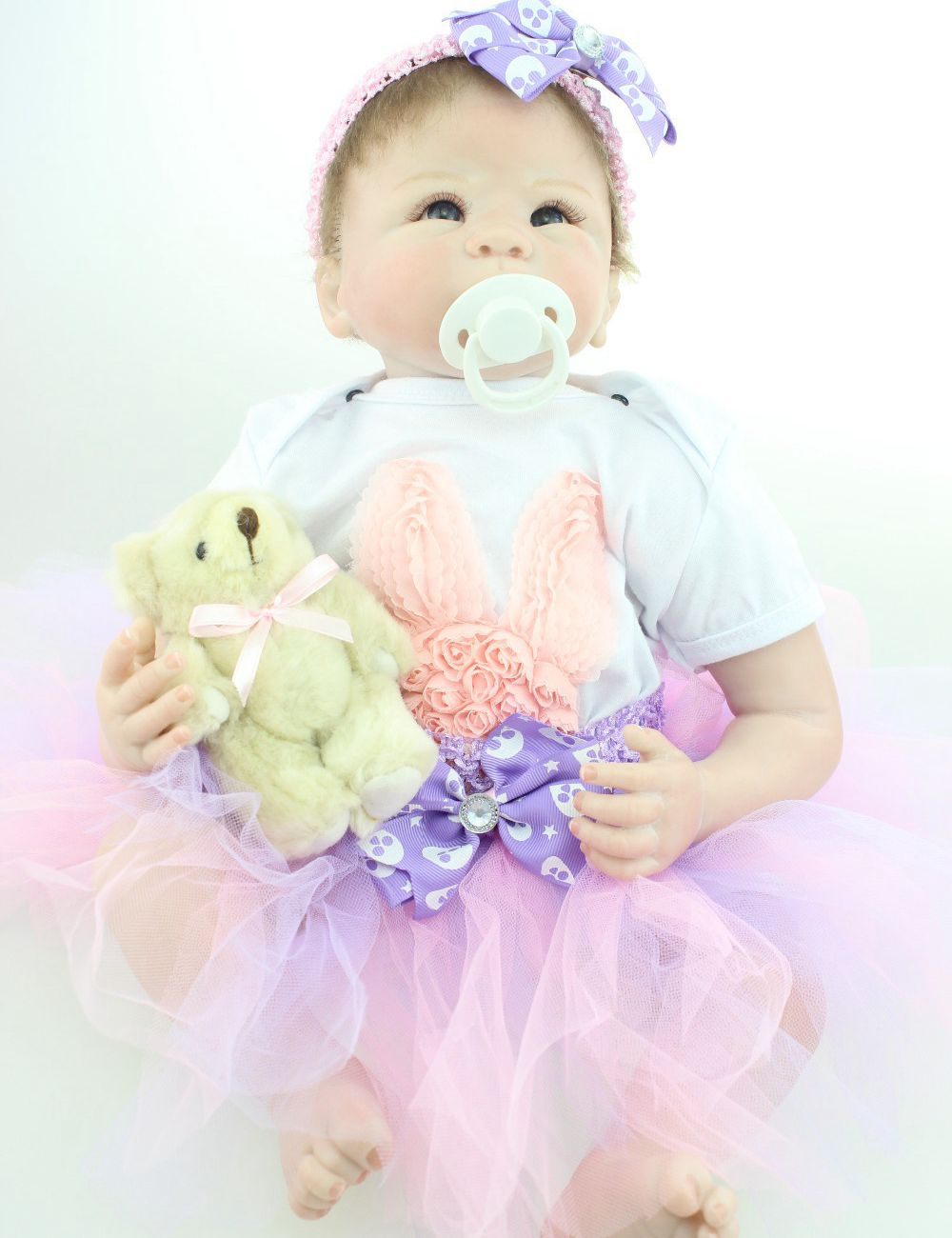 22 Lifelike Reborn Baby Sofe Silicone Girl Doll with Lace Tutus Kits Kids Collectible Toys Gift