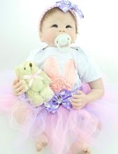 22″ Lifelike Reborn Baby Sofe Silicone Girl Doll with Lace Tutus Kits Kids Collectible Toys Gift Women Collect Treats