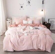New Pink White Gray Rabbit Ears Embroidery Fleece Fabric Girl Child Bedding Sets Velvet Duvet Cover Bed sheet/Linen Pillowcases
