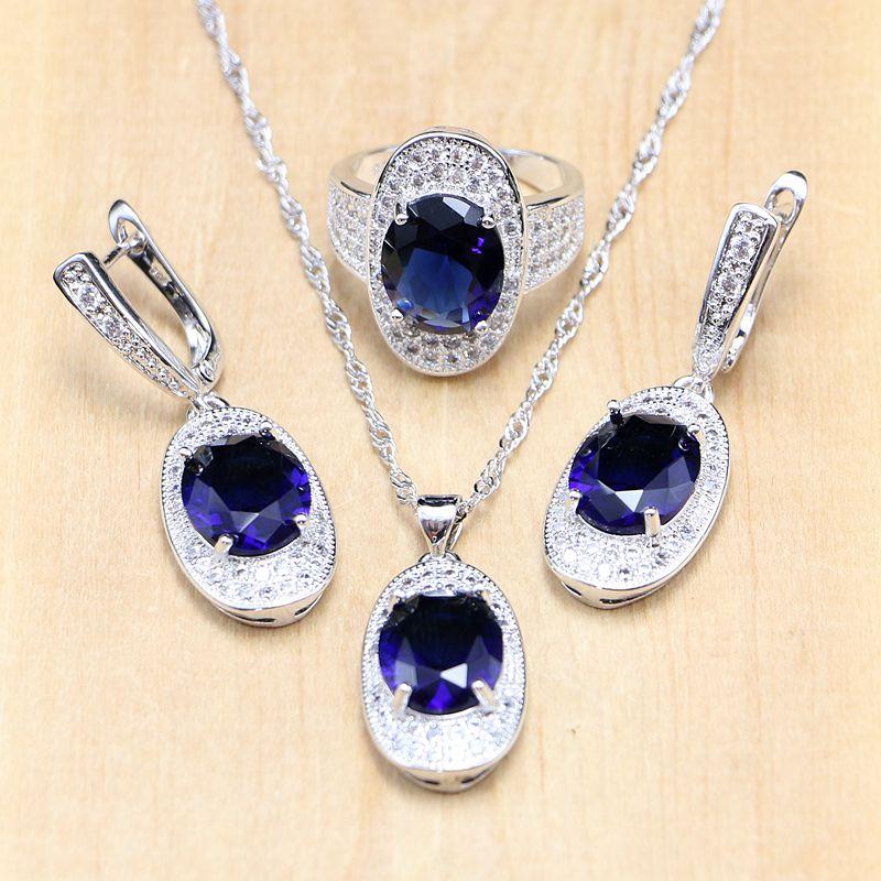 Повседневное 925 серебряные свадебные комплекты ювелирных изделий Голубой цирконий белый хрустальные камни Для женщин прополка кулон серьг...