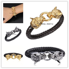 Silver or Gold Choose High Quality Black Genuine Leather Men s Bracelets Stainless Steel Wolf Magnetic
