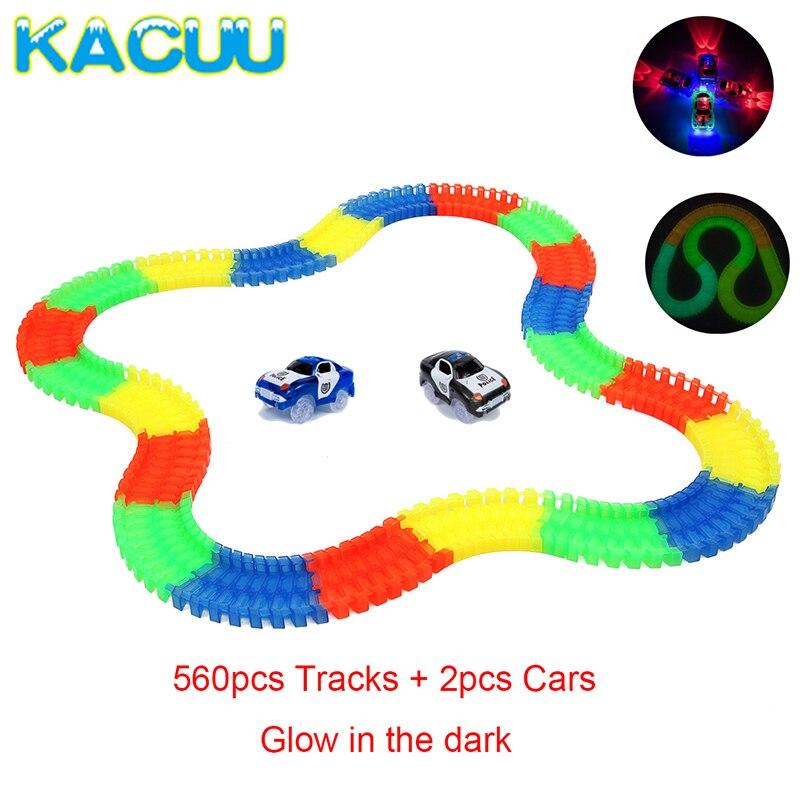 560 pièces piste de course rougeoyante magique + 2 voitures voiture de course lueur miraculeuse jouet de piste de course lueur dans le noir enfants jouets cadeaux