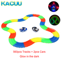 560pcs Magical Glowing Race Track + 2 Cars Glow Race Car Miraculous Glow Racing Track Toy Glow In The Dark Children Toys Gifts