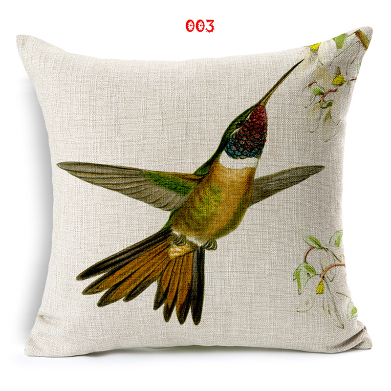 Wholesale and retail 18in*18in Cushion cover Hummingbird chart design linen/cotton decorative pillow cover seat pillow case