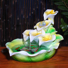 European Calla Lily Living Room Water Fountain Creative Home TV Cabinet Lucky Decoration