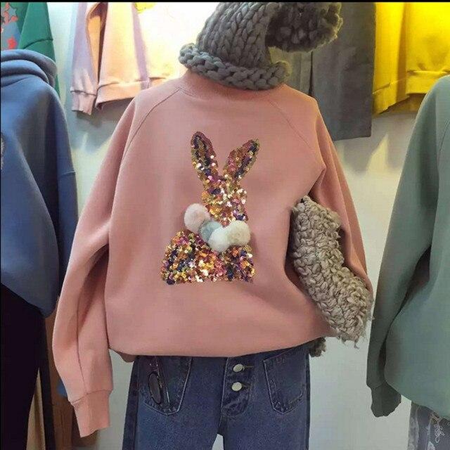 Блёстки мультфильм кролик кофты женские толстовки спортивный костюм