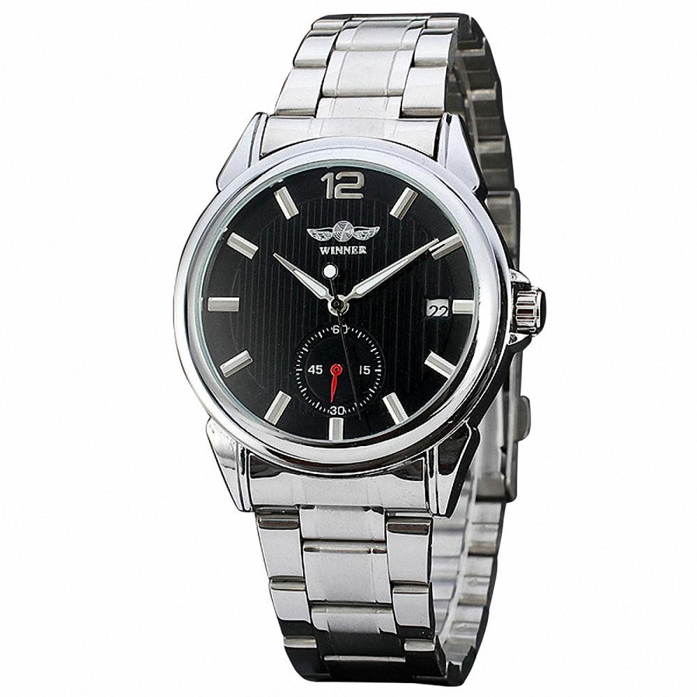 купить Men Unisex Business Automatic Mechanical Wristwatch Working Sub Dial Date Classic Concise Watch Black & White Dial + GIFT BOX недорого