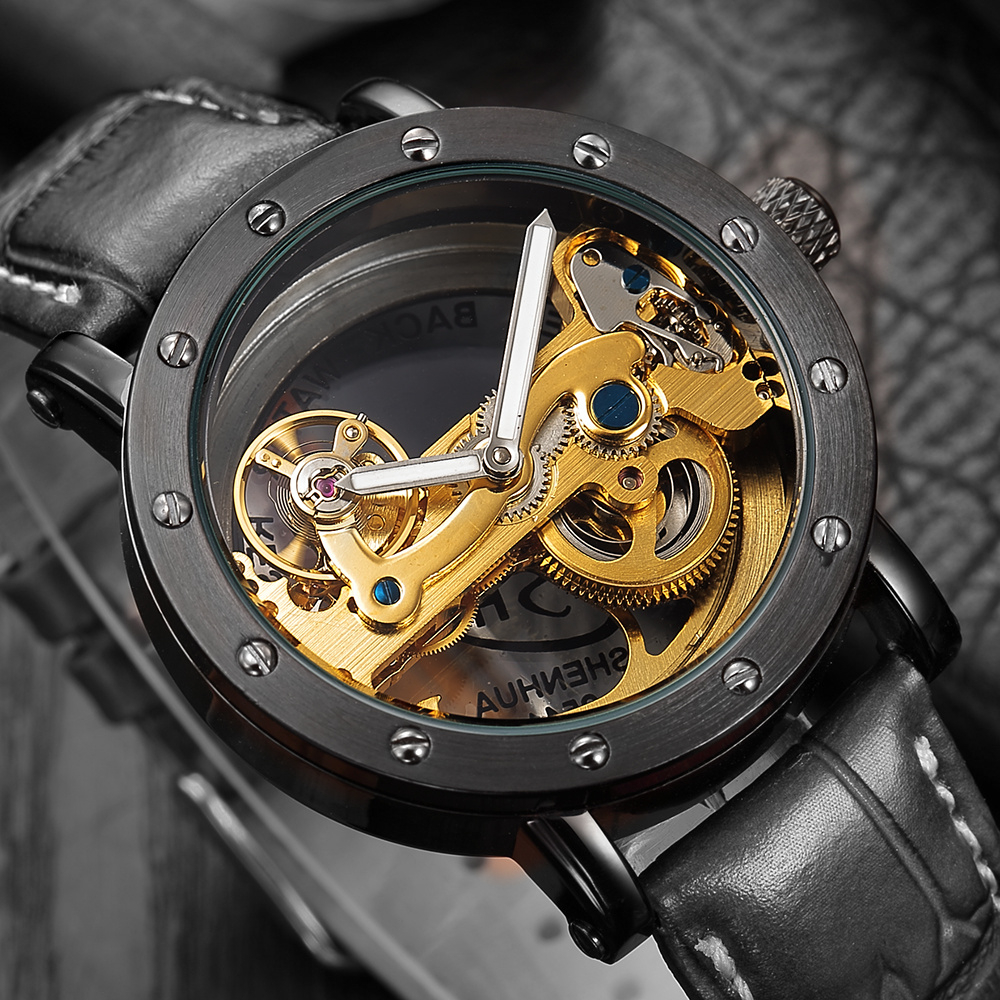 SHENHUA Hollow Skeleton Automatic Mechanical Watches Mens Top Brand Luxury Business Leather Strap Bracelet Wristwatch Clock Hour