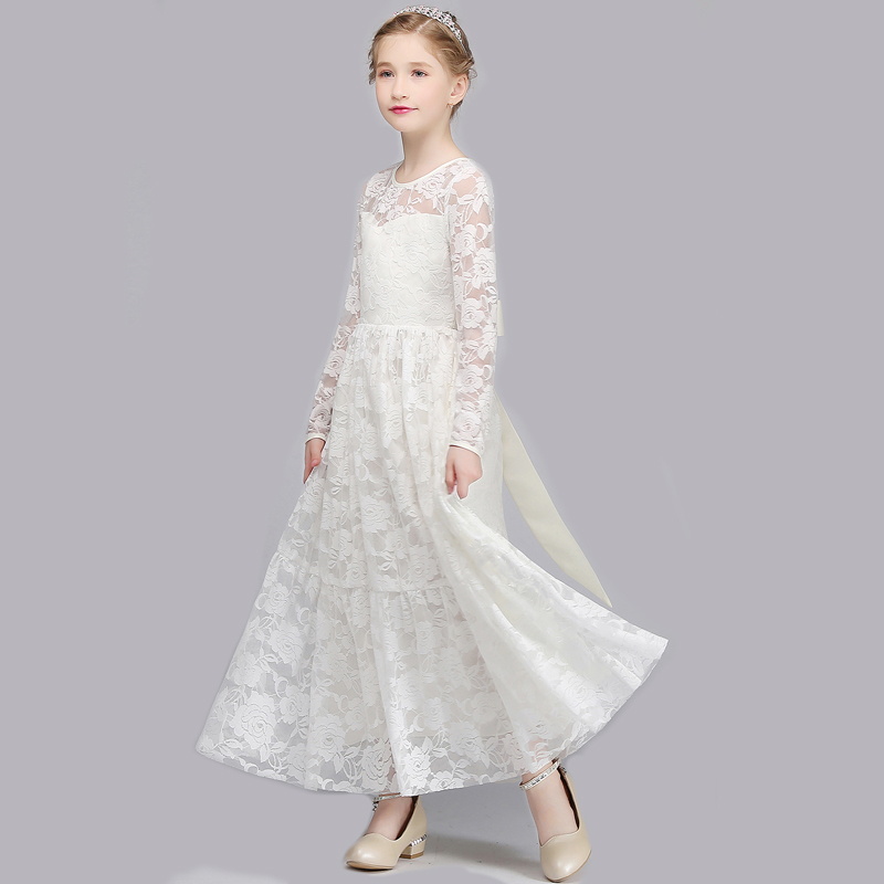 1394 22 De Descuentochica Encaje Vestido Niña Princesa Boda Vestidos Blanco Niña Damas Flor Chica Vestido De Manga Larga Vestido In Vestidos From