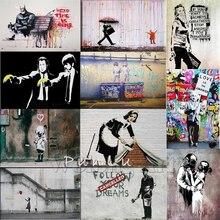 Бэнкси Граффити Холст книги по искусству принты картины стены плакат ПОП украшения картины на стену декоративные оформлена