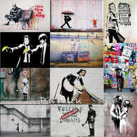 Banksy Graffiti Leinwand Kunstdrucke gemälde wand kunst poster Pop dekoration bilder wand kunst dekorative Gerahmte freeship